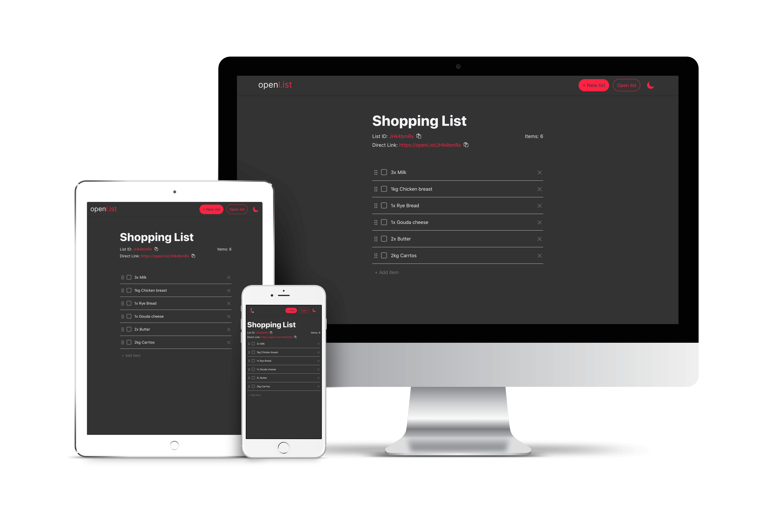 Example of openl.ist shopping list
